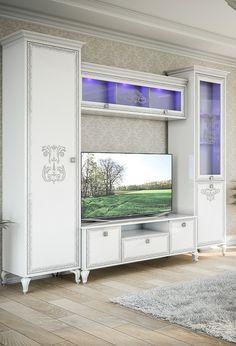 Белая стенка для гостиной в стиле барокко с тумбой для телевизора и подстветкой