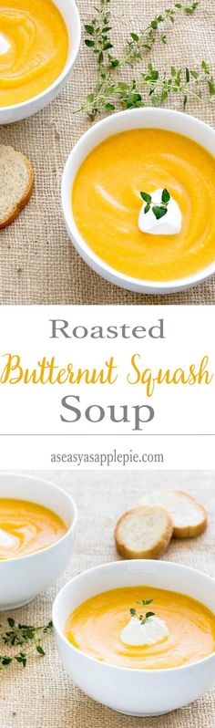 Roasted Butternut Squash Soup - only 186 calories for this creamy, fall recipe. No cream added! Enjoy itas a warming meal with a side salad. #soup #eatclean