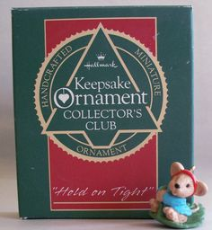 "Hallmark Keepsake Collector's Club Miniature Ornament, ""Hold on Tight"", 1988."
