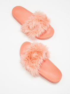 Boudoir Slide Sandal   Simple athletic-inspired slide sandals featuring a luxe faux fur top design.