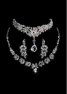 Gorgeous First-class Austrian Rhinestone & Alloy Wedding Jewelry Set,Including Necklace,Tiara And Earrings