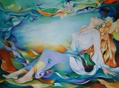 Orestes Bouzon Orestes Bouzon was born in Havana Cuba, February Painting has been a na. Art And Illustration, Woman Painting, Silk Painting, Cuban Art, Goddess Art, Colorful Paintings, American Artists, Female Art, Vivid Colors