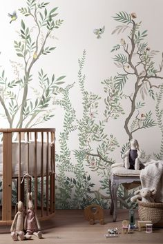 Kids Wallpaper Woodlands wallpaper detail by Maiso Baby Room Decor, Nursery Room, Nursery Tree Mural, Tree Wall Murals, Green Leaf Wallpaper, Plant Wallpaper, Botanical Wallpaper, Geometric Wallpaper, Kindergarten Wallpaper