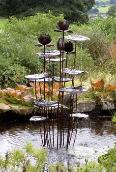Another copper fountain by the talented Humphrey Bowden, a retired Goldsmith - Tall Lotus Fountain