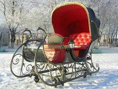 """Looks Like Christmas .""""A Christmas Sleigh Ride In the Snow """" . an antique covered red and black sleigh. I'd love to take a ride in this sleigh. Merry Christmas, Country Christmas, All Things Christmas, Winter Christmas, Christmas Holidays, Christmas Sleighs, Christmas Scenes, Xmas, Christmas Wedding"""