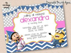 Despicable Me Minion and Agnes Birthday Party Invitation // by themintdesigncompany, $15.00