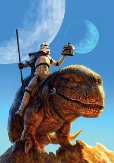 Painting, artist unknown, stormtrooper on Dewback - Star Wars art Star Wars Fan Art, Star Wars Ring, Star Wars Concept Art, Star Trek, Starwars, Disney Infinity, Stormtrooper, Darth Vader, Cosplay Star Wars
