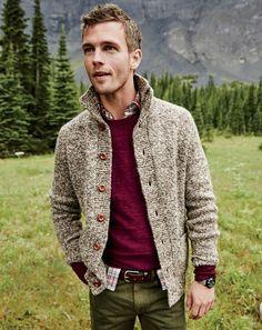J.Crew men's mockneck cardigan sweater, slim rugged cotton sweater, 770 garment-dyed American denim jean in vintage fatigue and auster arrowhead belt.