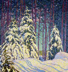 """Winter Sunrise"" by member of the Group of Seven Canadian painters, Lawren Harris, 1915 Group Of Seven Artists, Group Of Seven Paintings, Winter Landscape, Landscape Art, Landscape Paintings, Tom Thomson, Canadian Painters, Canadian Artists, Winter Painting"