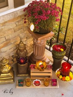 Diwali Decorations At Home, Festival Decorations, Flower Decorations, Ceremony Decorations, Porch Decorating, Decorating Your Home, Diwali Lights, Round Candles, Pooja Room Design