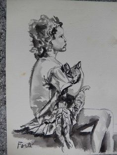 Original Black & White Watercolor Sketch Little Girl Cat 1971 by gypsytejas on Etsy