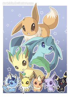 eevee, leafeon, glaceon, vaporeon, jolteon, flareon, espeon, umbreon, pokemon I'm da glaceon
