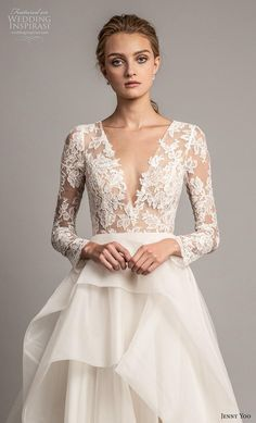 8247c0b7ec42 jenny yoo spring 2019 bridal long sleeves v neck heavily embellished bodice  tiered skirt romantic ball