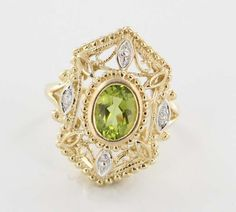 Estate 10 Karat Yellow Gold Diamond Peridot Cocktail Ring Fine Jewelry Pre-Owned, Shop Rubylane.com