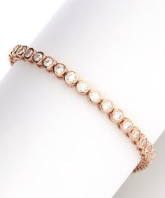 Take a look at this Rose Gold Circle Tennis Bracelet by Yellow Gold, Inc. on #zulily today!