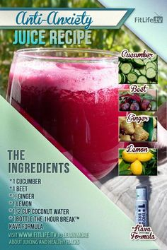 Anti-Anxiety Juice Recipe!  Ingredients: 1 Cucumber, 1 Beet, 1/2 Ginger, 1 Lemon, 1/2 Cup Coconut Water, and 1 Bottle of 1HourBreak Formula.