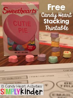 Can you stack candy hearts? It's really hard! This and other great candy heart activities from #SimplyKinder