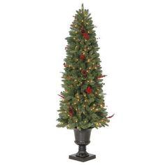 7 ft. Feel-Real Downswept Douglas Slim Artificial Christmas Tree ...