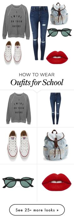 """""""School"""" by andrealopez-8 on Polyvore featuring moda, Miss Selfridge, Converse, Aéropostale, Ray-Ban, Lime Crime, women's clothing, women, female y woman"""