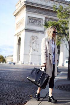 HOSS INTROPIA coat, COS men's shirt, ZARA pants, STELLA MCCARTNEY shoes, SAINT LAURENT bag RAY-BAN sunglasses.