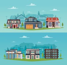 Colorful countryside horizontal banners with suburban houses and cottages in flat style vector illustration. Editable EPS and Rend