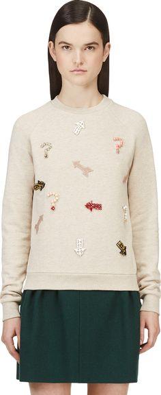 Stella McCartney - Beige Beaded Embroidery Crewneck Sweatshirt
