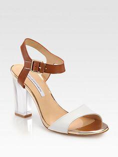 Diane von Furstenberg - Patmos Leather Lucite Heel Sandals - LOVE