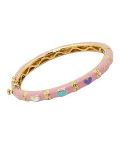 Take a look at this Fuzion Creations Pink Gold-Plated Heart Bangle by Fuzion Creations on #zulily today!