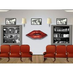 Red Mosaic Crackle Finish LIPS Wall Decoration