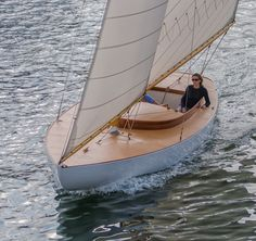 A 29 ft. Herreshoff Buzzards Bay 18 built by Artisan Boatworks in Rockport, Maine and sailing for the first time in Camden Harbor.