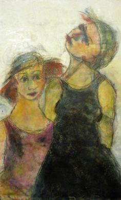 Julie Stabile Tourists 2009 encaustic and pastel on panel 20 x 30 in
