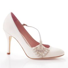 Inspired by the glamour of the twenties era and its super chic fashion, the Elizabeth bridal shoe is made on a beautiful vintage last with intricate hand-beading.