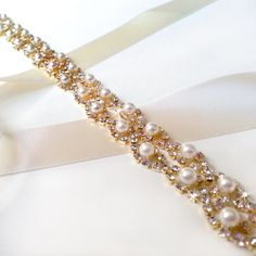 "Crystal Pearl Weave Bridal Belt Sash in GOLD - Custom Ribbon - White Ivory Silver - Rhinestone Pearl - Wedding Dress Belt - Extra Long 37"" Crystals"