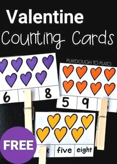 Valentine Counting Cards These Valentine's Day counting cards are a perfect math game to add to your February math centers collection and they are great for building fine motor skills too! Counting Activities, Valentines Day Activities, Math Games, Valentines Games, Holiday Activities, In Kindergarten, Preschool Activities, Music Activities, Playdough To Plato