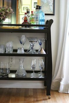 Changing table repurposed into bar cart! Creative Beverage Carts