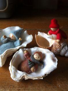 Oesterbaby, oister baby felt seashell Summer nature table, seizoenstafel zomer