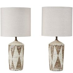 Pair of American Studio Ceramic Table Lamps | From a unique collection of antique and modern table lamps at https://www.1stdibs.com/furniture/lighting/table-lamps/