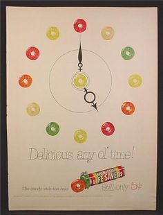 Magazine Ad For Life Savers Five Flavor Candy, Hours Of The Clock, 1954