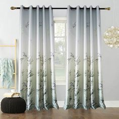 Green Bamboo Curtain Modern Printing Semi Blackout Curtain Living Room Bedroom K Leaf Curtains, Bamboo Curtains, Kids Curtains, Green Curtains, Modern Curtains, Blue Drapes, Patterned Curtains, Window Curtains, Living Room Decor Curtains