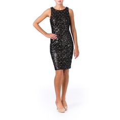 Sue Wong Dresses - SUE WONG Black Sequined Prom Knee-Length Cocktail