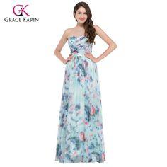 Abiti da sera a buon mercato Grace Karin eleganti fiori stampa floreale  abiti da sera 2017 fe3002161b7