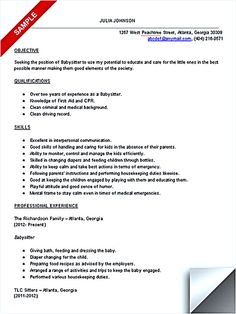 Babysitter Resume Templates Babysitter Resume Is Going To Help ...