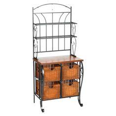 Southern Enterprises Iron Baker's Rack with Wicker Storage - Black