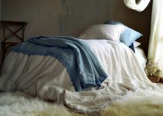 Cream white laced linen bedding Provincial Living by House of Baltic Linen