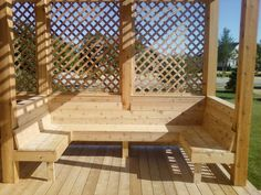 pergola on deck with benches - Google Search