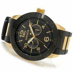 Invicta Mens Specialty Quartz Gold Tone Stainless Steel Case Polyurethane Strap Watch