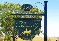 Graceful green and gold. Property Signs, Horse Property, Entrance Sign, Grand Entrance, Santa Lucia, Sweet Afton, All Kinds Of Everything, Site Sign, Barn Signs