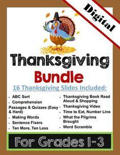 DIGITAL: Thanksgiving & Math Bundle Grades 1-3