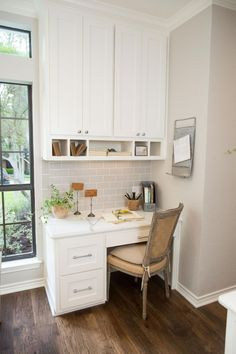 Love the idea of a tiny office nook off the kitchen. *Fixer Upper on HGTV*