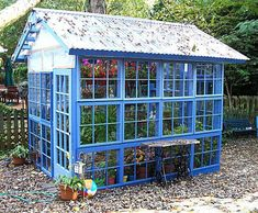 greenhouse made of old windows. Old window greenhouse, using recycled windows from one neighbor who was replacing all the windows on her house, and a couple of old doors from another neighbor who was getting new ones installed. Diy Greenhouse Plans, Backyard Greenhouse, Small Greenhouse, Greenhouse Wedding, Homemade Greenhouse, Balcony Garden, Portable Greenhouse, Garden Sheds, Greenhouse Plants